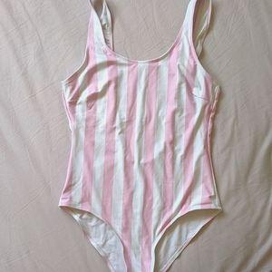 Pink striped one piece